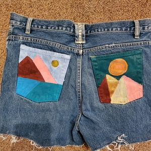 Hand painted jean cut off shorts